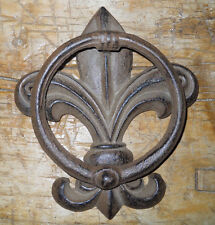 Cast Iron Antique Style FLUER DE LIS Door Knocker Brown Finish