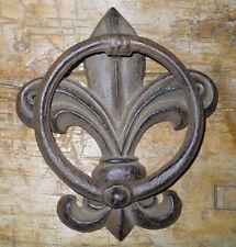 Cast Iron Antique Style FLUER DE LIS Door Knocker Brown Finish