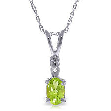 0.46 CTW 14K Solid White gold Peridot Diamond Necklace 18""