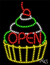 "NEW ""OPEN"" CUPCAKE 26x20 SOLID/ANIMATED LED SIGN W/CUSTOM OPTIONS 21244"