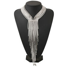Fashion Vintage Lady Multilayer Long Tassel Bib Statement Necklace Chain Collar
