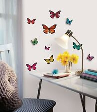 BUTTERFLIES 3D Wall Stickers 25 Butterfly Room Decor Decals Kid Girls Pop-up RM1