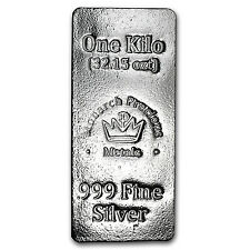 1 kilo Silver Bar - Monarch Precious Metals - SKU #104898
