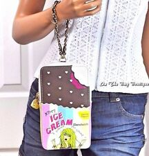 Betsey Johnson ICE CREAM SANDWICH Large Wristlet Tech Phone Case Clutch Bag NWT