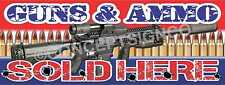 3'X8' GUNS & AMMO SOLD HERE BANNER Signs LARGE Bullets Ammunition Range Firearms
