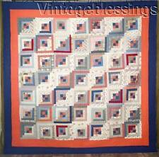 "Striking Large Orange & Blue ANTIQUE Log Cabin QUILT 90x90"" Graphic Never Used"