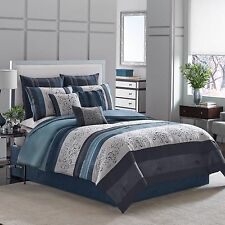 Manor Hill Lana Comforter Bed Set Queen 4pc Embroidered Floral Scroll Blue Gray