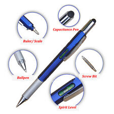 Touch Screen Stylus Pen With Spirit Level Multitool Ruler Screwdriver Blue