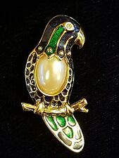 BEAUTIFUL VINTAGE JEWELLERY PARROT MACAW BIRD CLOISONNE PEARL GOLD BROOCH PIN