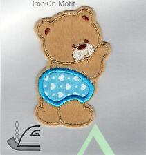 TEDDYBEAR IN PANTS IRON ON APPLIQUE MOTIF PATCH, BRAND NEW