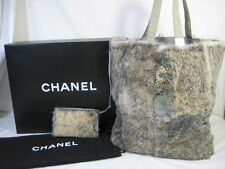 Authentic Chanel blue suede, grey rabbit fur tote & pouch shoulder bag