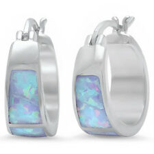 White Australian Opal Hoop Huggie .925 Sterling Silver Earrings