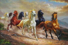 "Art Print Animals Eight Horses oil painting Picture Printed on canvas 16""x24"""