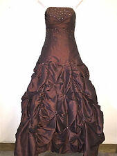 FLIRT BY MAGGIE SOTTERO WOMENS MISSES BROWN BEADED BALL GOWN FORMAL DRESS ~SZ 4