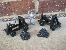 Marx Medieval Catapults w/Rock Piles 1/32 54MM Toy Knight Soldier Playset