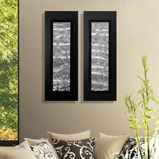Set of 2 - Silver & Black Metal Wall Art Accent - Modern Home Decor by Jon Allen