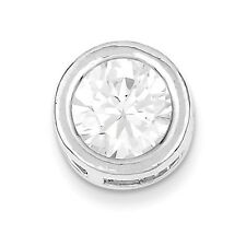 Women's Ladies .925 Sterling Silver Round Clear CZ Slide Pendant For Necklace