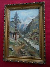 """tableau ancien paysage """"""""bergerie et montagne enneigée """""""" sig (XX)"""
