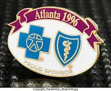 OLYMPIC PINS 1996 ATLANTA GEORGIA USA BLUE CROSS/SHIELD SPONSOR BANNER LOGO