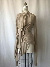 NEW RICK OWENS NUDE COLOR COTTON BLEND WRAP STANNING JACKET. SIZE 8