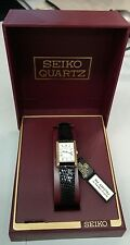 Authentic Seiko Gold Tone Rectangular Black Snakeskin Leather Strap Ladies Watch