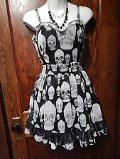 TRIPP NYC black gray gothic skulls TEA DRESS lolita Dia de los Muertos XS 3F
