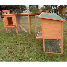 Premium Large Rabbit Hutch Chicken Coop Small Animal Cage w Two Bedrooms