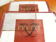 Frette SHANGHAI VERTIGO BORDO KING Pillow Shams PAIR 2 IVORY / MOKA ITALY - NEW!
