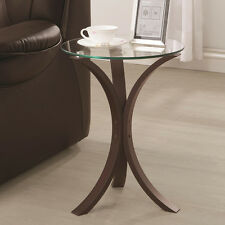 Accent Snack Sofa End Chair Side Table Stand Round Glass Top Cappuccino Base