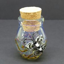 3-D Butterfly Glass Jar Hand Blown Fitted Cork Collectible Trinket Container B