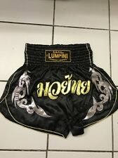 "MUAYTHAI SHORTS WITH TRIBAL AND ""มวยไทย"" BLACK-SILVER-GOLD SIZE L 30""-34"""