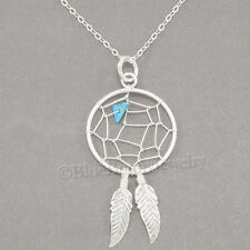 DREAM CATCHER Pendant Native Indian Feather Charm STERLING SILVER Necklace 925