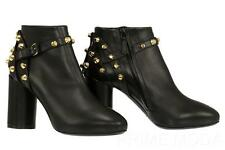 NEW BALENCIAGA BLACK LEATHER STUDDED DETAIL BOOTIES BOOTS  HEELS SHOES 40/US 10