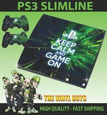 PLAYSTATION PS3 SLIM STICKER KEEP CALM AND GAME ON SKIN & 2 PAD SKINS