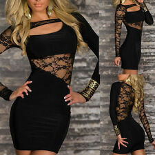 New Sexy Lady Elastic Clubwear Party Long Sleeve Lace Dress Black  11