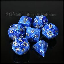 NEW 7pc Blue Vortex RPG Dice in Box D&D Gaming Set Chessex 7 pc D12 D20 +
