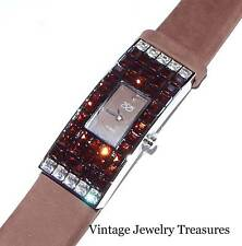Suzanne Somers Crystal Silver Tone Brown Suede Strap Watch New HSN