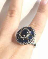 TURKISH HANDMADE OTTOMAN STERLING SILVER SAPHIRE & TOPAZ WOMEN RING Ring Size 8