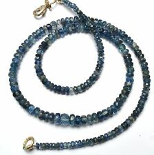 """NATURAL GEM KYANITE 3-6MM FACETED RONDELLE BEADS 100CTS. FINISHED NECKLACE 17"""""""