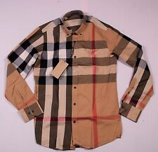 Mens New Shirt Casual Checked Top Beige Brown Long Sleeve Button Down Size M