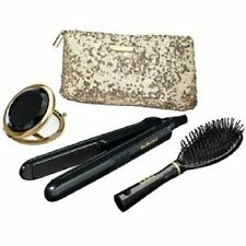 New BaByliss 2858GU Sheer Glamour Ceramic Straightener Set Black With Travel Bag