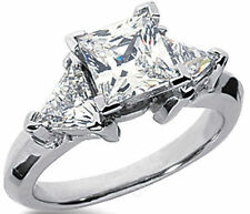 2.11 ct total Princes & Triangle shape DIAMOND Engagement Wedding 14k Gold Ring