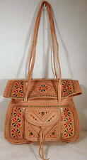 Moroccan Hand Painted Tooled & Embossed Leather Handbag
