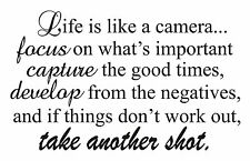 life is like a camera...take another shot   13.5x22 vinyl wall art quotes BCT