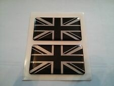 2 x UNION JACK BLACK SILVER GB CAR BADGE MINI COUNTRYMAN SELF ADHESIVE 50x30mm