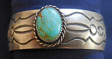 NATIVE AMERICAN MKM, STERLING, TURQUOISE CAB, STAMPED, DOMED, LADY'S BRACELET