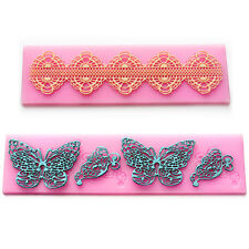 Lace Silicone Mold Mould Sugar Craft Cake Fondant Cake Decorating Butterfly #606