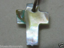 "† PRIEST'S ""BLESSED"" TINY ABALONE CROSS ROSARY MEDAL PENDANT MILITARY 1/2""  †"