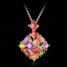 18K Gold Plated Chain Square Pendant with Multicolour AAA Cubic Zircon Crystals