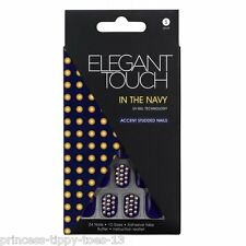 ELEGANT TOUCH 24 short length accent studded false nails in - in the navy